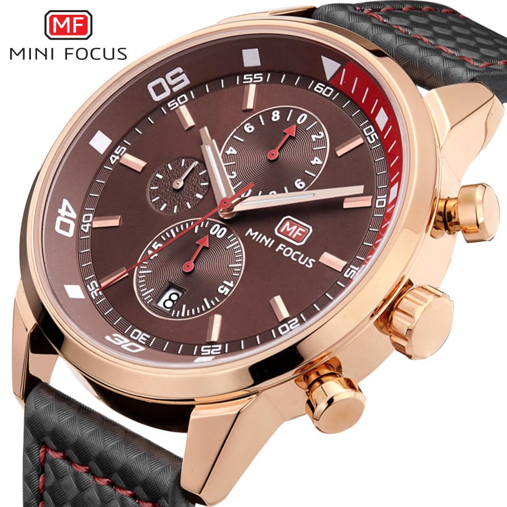 Fashion Racing Sport Watches For Men Three Eyes Multifunction Brown Dial Luminous Top Brand Man Watches Quartz-watch Waches