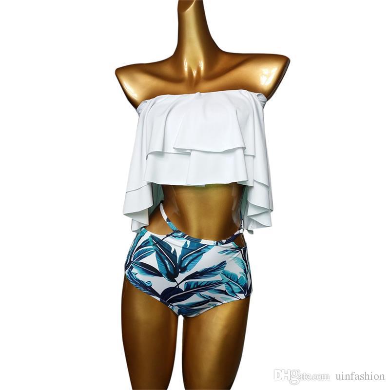 Bikini Set Doubledeck Flouncing Swimsuit Push Up Maiô Sexy Mulheres Cintura Alta Swimwear Fora Do Ombro Ternos De Natação