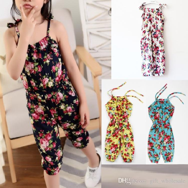 b2316bc638c 2019 Wholesale Baby Clothes Girl S Floral Jumpsuit Suspender Trousers Pant  100% Cotton Flower Print Kids Summer Outfit 3 8T From Gift wholesale