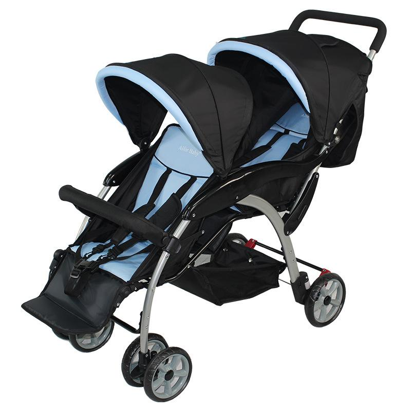 Twin Baby Cart Double Umbrella Stroller Jogger Infant Toddler Easy Folding Wheelchair Baby Carriage Sit Lie Pram Travel System