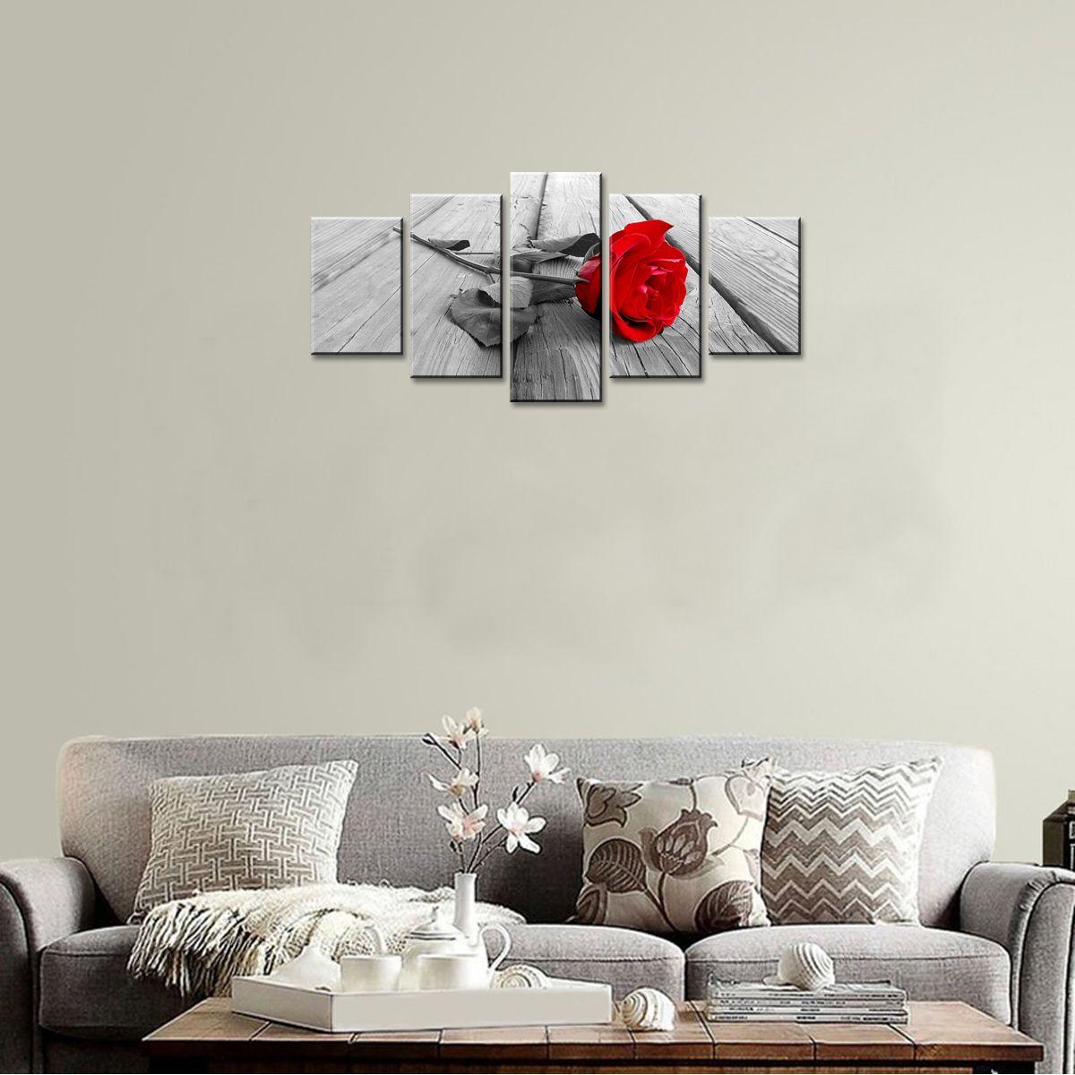 Rote Rose Blume Malerei Leinwand Wandkunst moderne Bild Home Decor Floral HD Giclee Artwork 5 Panels gestreckt auf gerahmt