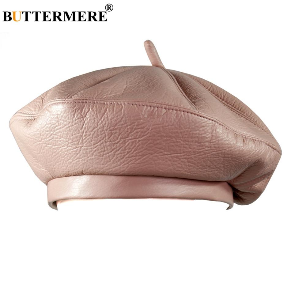 e1a440ab936 2019 BUTTERMERE Women French Beret Hats Pink Leather Painters Hat Ladies  Casual Solid Artist Cap Men Vintage Autumn Berets Black Gray From Zizuo
