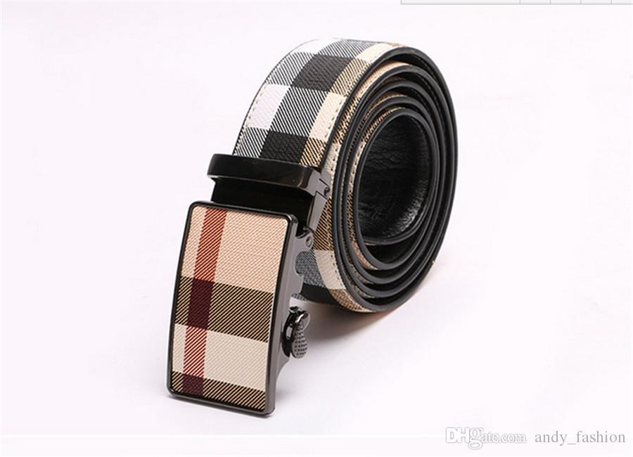 Brand Men belt 2018 Famous fashion Plaid design Belt RT6630 Automatic Buckle Men High Quality Genuine Leather Designer Belts Men