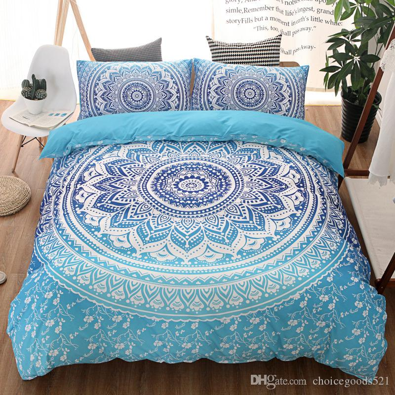 bohemian bedding sets mandala printing blue black white boho single