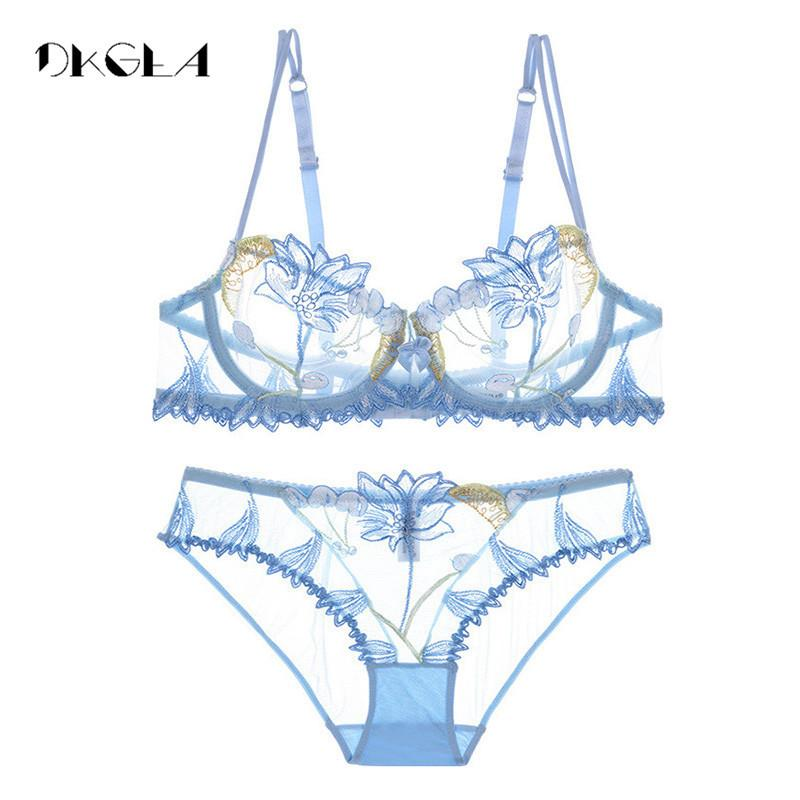 c70c97dd26ae8 ... Set Lace Blue Transparent Underwear Set Women Sexy Hollow Out See  Through Bra Pink C18111601 Latest Bra And Panty Matching Bras And Panties  From ...