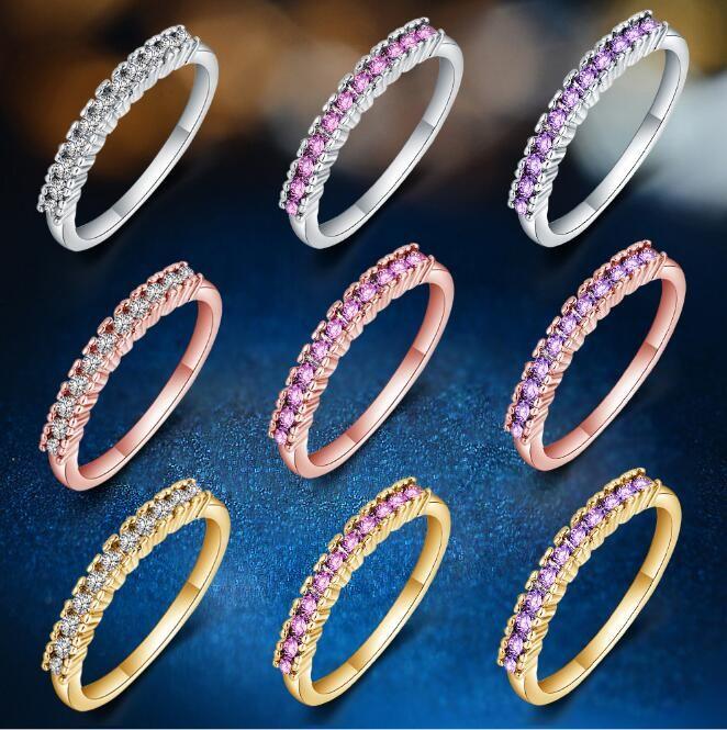 2018 Горячие Продажи Стерлинговое Серебряное Покрытие Золото Белое Золото Розовое Золото Цвет Кристаллические Кольцо Мода Ювелирные Изделия Для Человек Женщины Размер US6-9