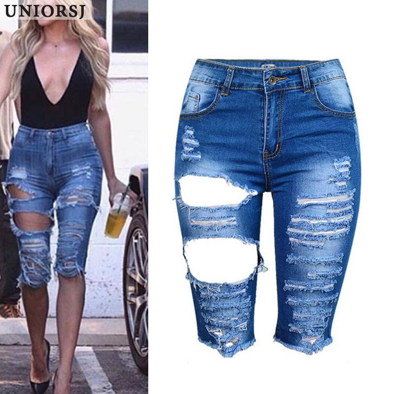 308a70fec 2019 Knee Length Denim Shorts Women Vintage Short Jeans Ripped Distressed  High Waist Shorts Femme Oversized Plus Size Tassel Pants From Insideseam,  ...