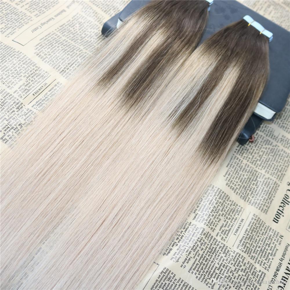 Omber Tape in Haarverlängerungen # 4 Fading zu # 18 Dip Dyed Glue in Remy Human Hair Extensions Balayage Tape auf Verlängerungen