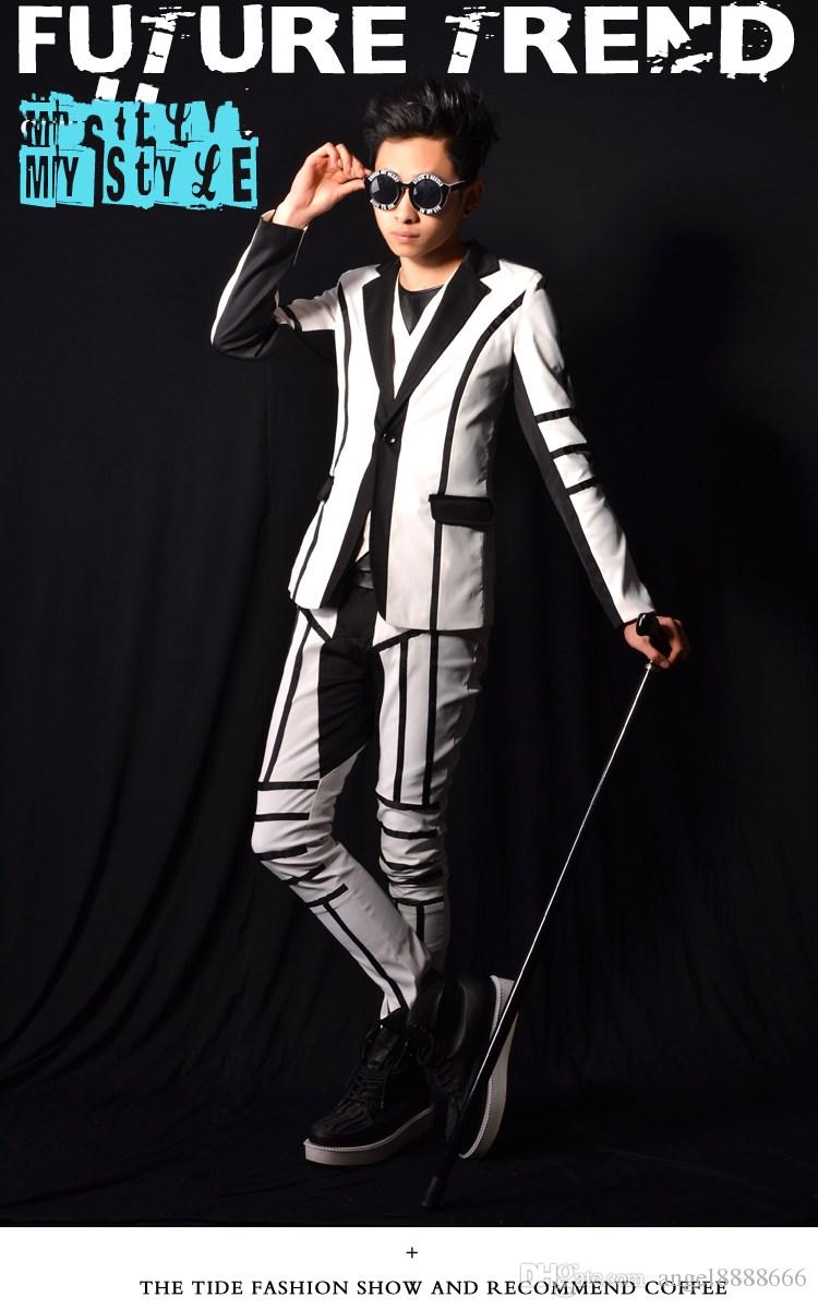 Male white patchwork suit jacket vest pants costumes singer dancer dress performance stage show nightclub chothing outdoors fashion slim we