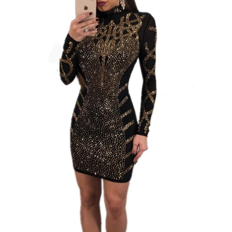 60120450664 Fashion Rhinestone Diamonds Embellished Slim Bodycon Dress Women Turtleneck  Long Sleeve Perspective Party Nightclub Mini Dress Dress 1 White Dresses For  ...