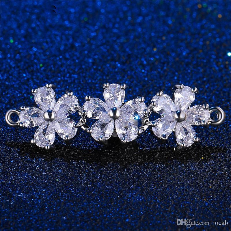 Wholesale Handmade Bracelet Necklace Earrings DIY Accessories Luxury Zircon Crystal Clover Double Hole Charms Pendant Flower Connector Clasp