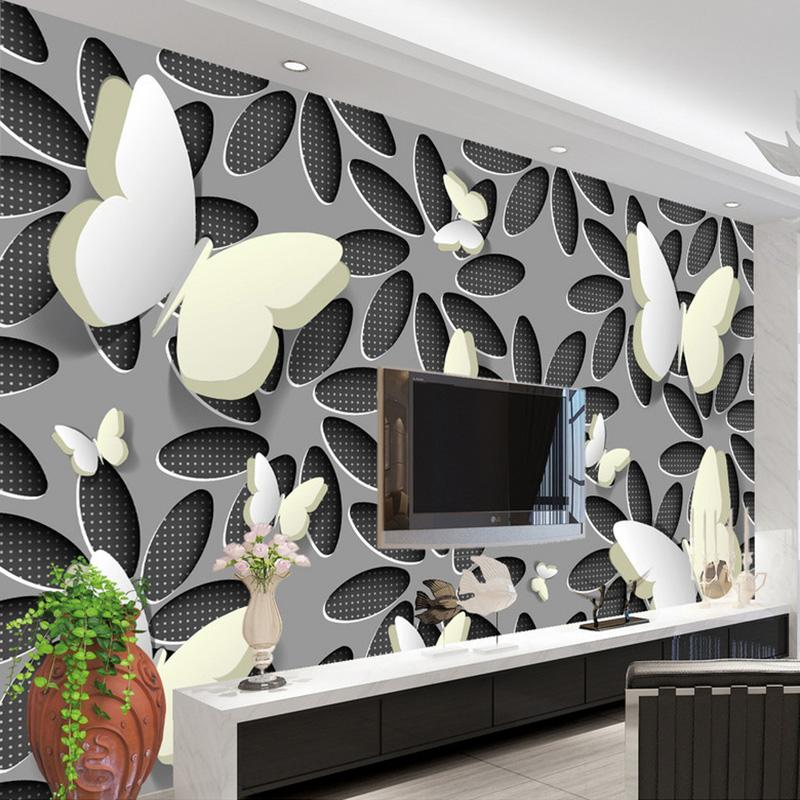 Custom wallpaper murals 3d stereoscopic butterfly flowers wall mural modern abstract art wallpaper wall covering living room tv mobile wallpaper in hd