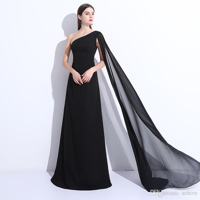 Seksi Bir Omuz Siyah Uzun Abiye 2020 A Hattı Ucuz Şifon Basit Gelinlik Modelleri Kadınlar Partisi Abiye Örgün Elbise