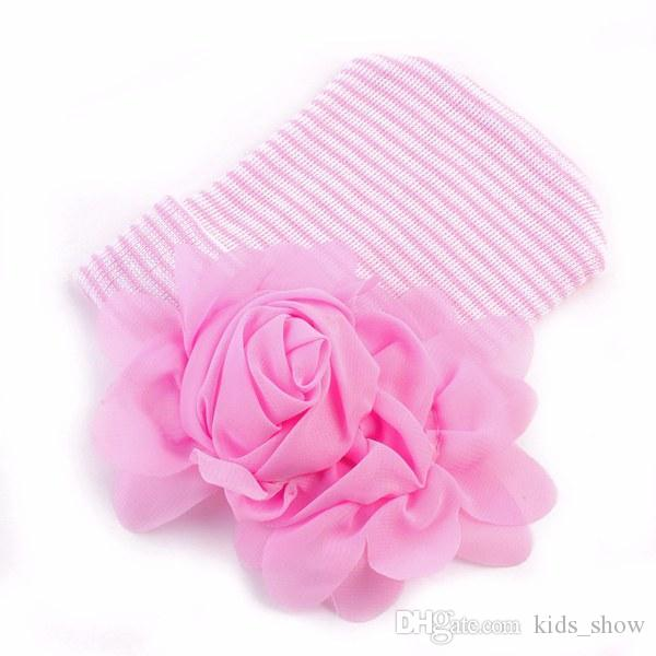 Adorável bebê recém-nascido meninas grande flor chapéus listra bonés de inverno infantil chapéu de malha gorro gorros de crochê