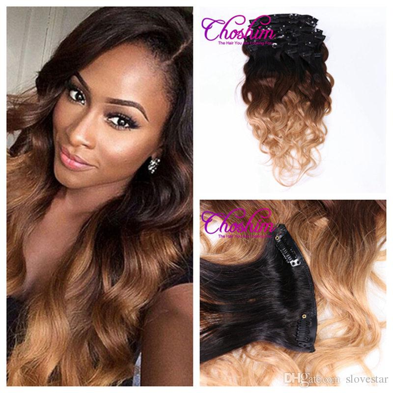 T1b427 Body Wave Remy Hair Ombre Weft Clip In Human Hair
