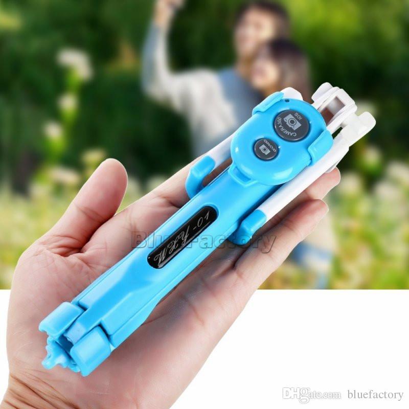 Telecomando Bluetooth Selfie Stick 3 in 1 Monopiede temporizzato estensibile portatile con supporto treppiede pieghevole iphone 8 X Smartphone