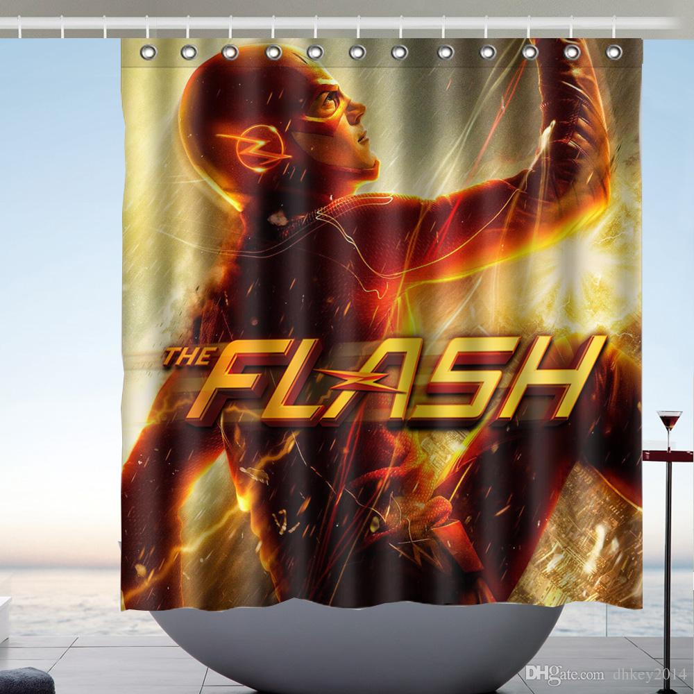 2019 Custom The Flash Waterproof Bathroom Shower Curtain Polyester Fabric Size 66 X 72 From Dhkey2014 3517