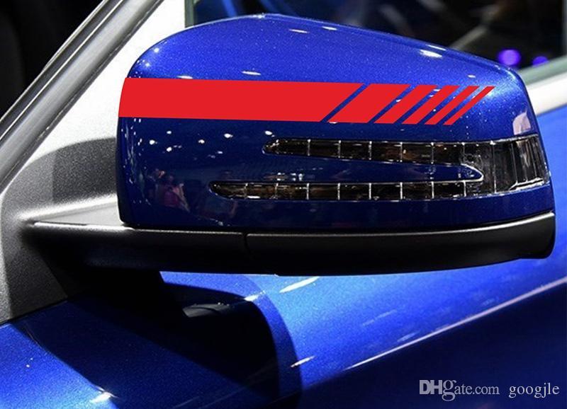 2 adet / takım Evrensel Oto Dikiz Aynası Yan Çıkartması Şerit DIY Dekorasyon Dış Etiket BMW Audi Benz Porsche Honda Toyota Ford Için Fit