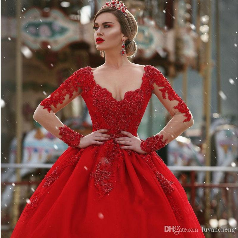 Sexy V-Neck Gorgeous Red Long Sleeves 2018 Ball Gown Wedding Dresses Lace Appliques Beadings Bridal Gowns For Women Long Bridal Dress