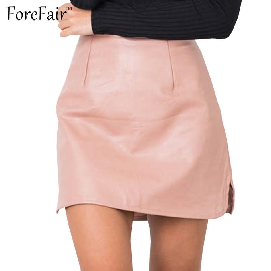 2018 Forefair Pink Black Khaki Vintage Faux Leather Skirt Slim Mini