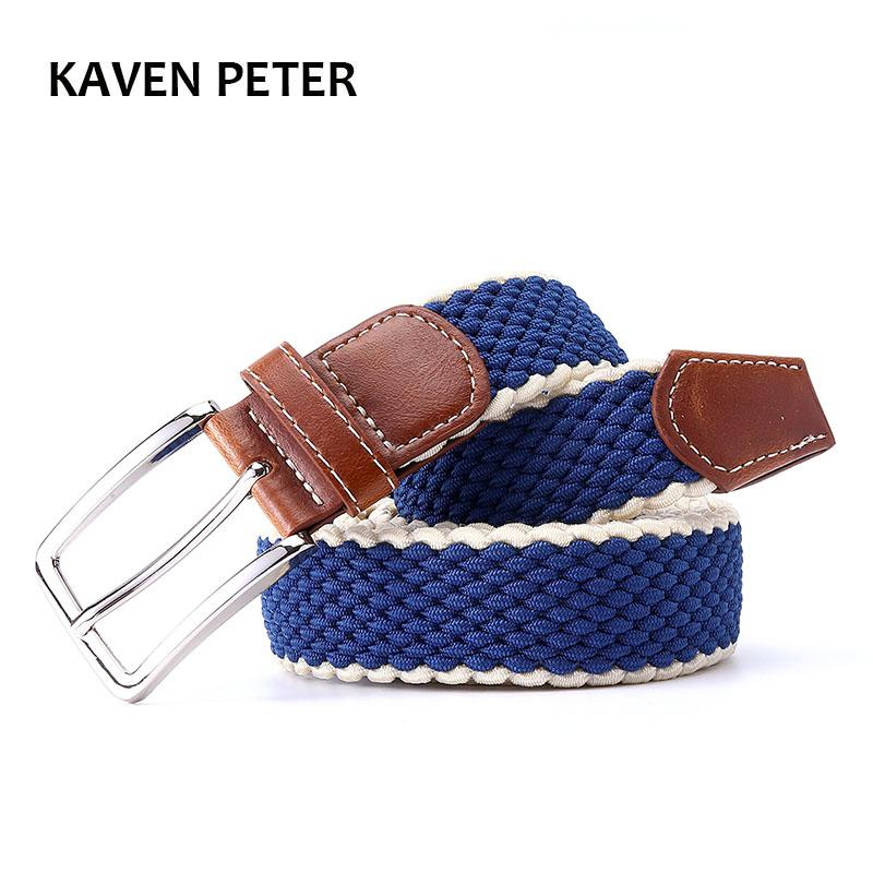 "Men's Fabric Leather Elastic Woven Stretch Belt 1-3/8"" Wide New Elastic Canvas Belt Men Casual Elastic Strap Silver Buckle"