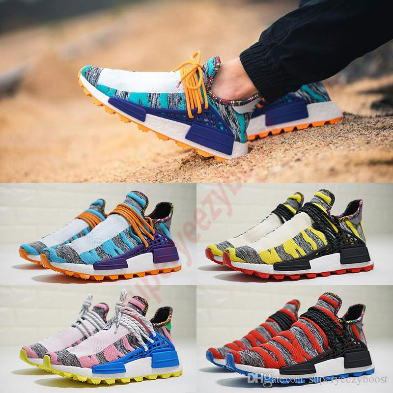cheaper efdd0 d7f81 2019 NMD Human Race Running Shoes Pharrell Williams Designer trainers Trail  Mens Womens Afro Sola Pack Cream Core Sneakers with box US5-11.5