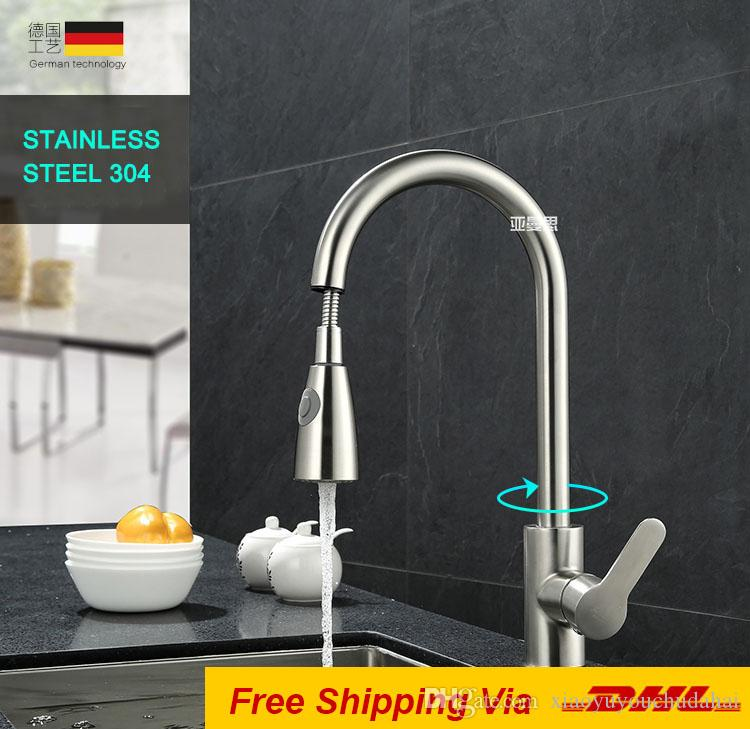 2018 Factory Direct Stainless Steel 304 Brushed Pull Out Faucet ...
