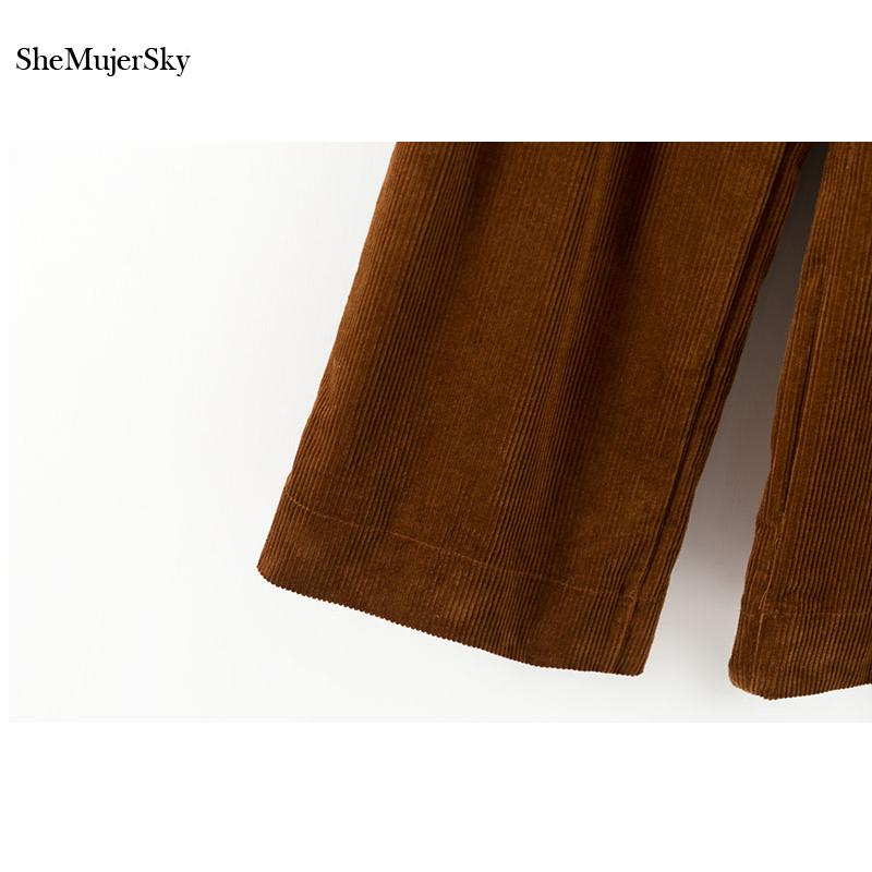 SheMujerSky Wide Pants Women Coffee Pantalones de invierno Cálidos Fajas Plisadas Pantalones de cintura alta Pantalones