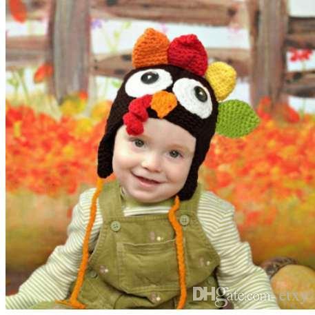 2019 Baby Accessories Knitted Winter Warm Baby Cap Kids Cartoon Chiken Cap  Crochet Turkey Hat Baby Hat Newborn Photography Props From Etxy e89ea8b0619