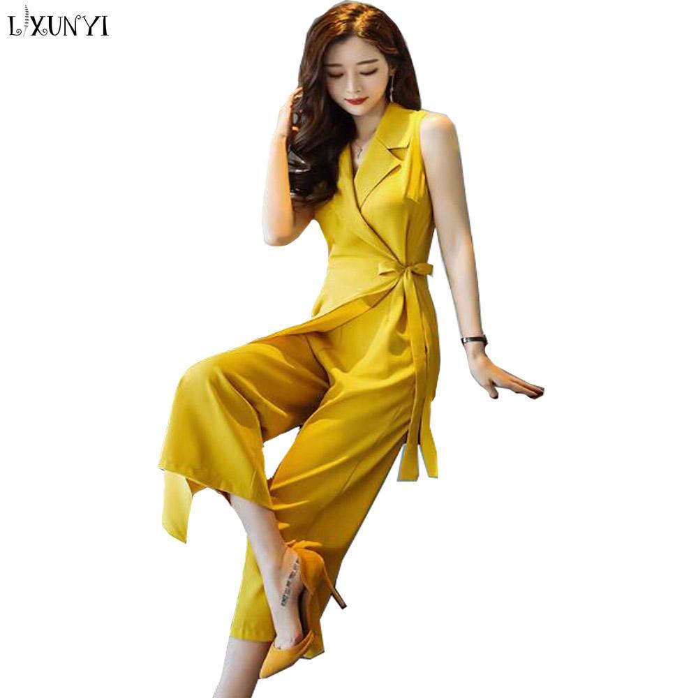 f7363bcfe4b Wholesale Chiffon Jumpsuits For Women Summer 2018 New Korean Fashion  Sleeveless Jumpsuit Elegant Ladies Wide Leg Long Pants Yellow Jumpsuit  Online with ...