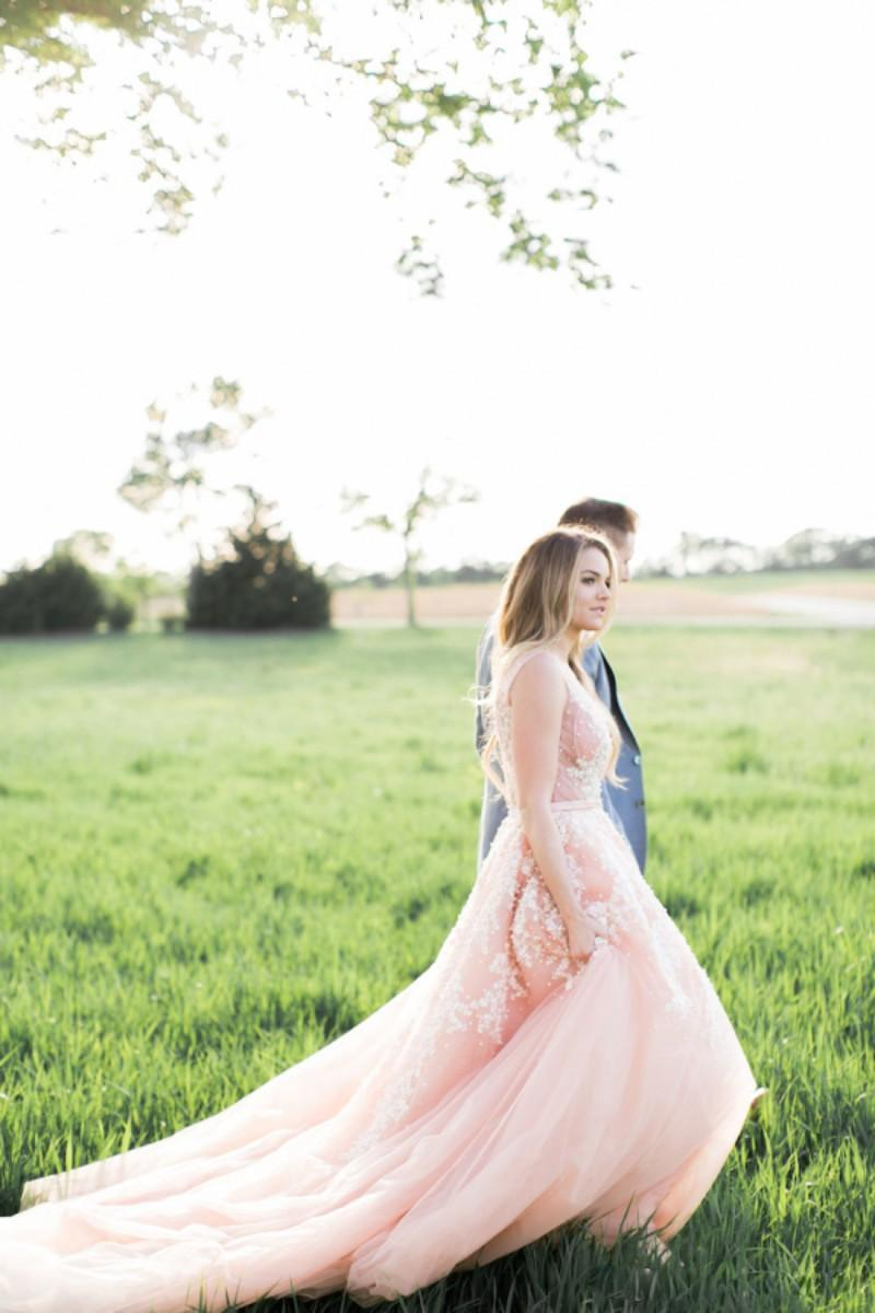 Blush Pink Wedding Dresses with White Lace Appliques Charming Deep V-Neck See Through Top Backless Sheer Bridal Gowns Plus Size