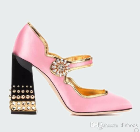 50a1105feea 2018 New Women Pink Pumps Glitter Party Shoes Point Toe High Heels Glitter  Wedding Dress Shoes Chunky Heel Diamond Buckle Strap Pumps Summer Shoes  Womens ...