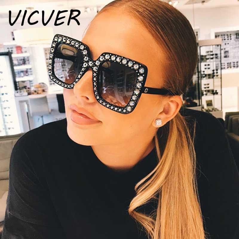 600ccefe99b Crystal Sunglasses Italy Brand Designer Women Diamond Sun Glasses Luxury Oversized  Square Female Retro Stylish Big Frame Shades Glasses For Men Mens ...