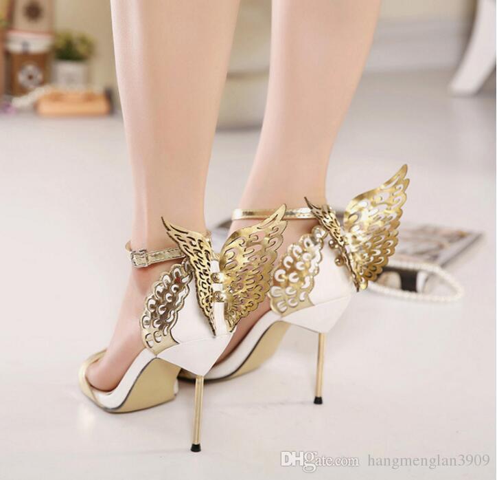 2017 Nouvelle Mode Femmes Valentine Chaussures Bronzing Paillettes Big Bowknot Talons Hauts Sandales Fête De Mariage Sandales