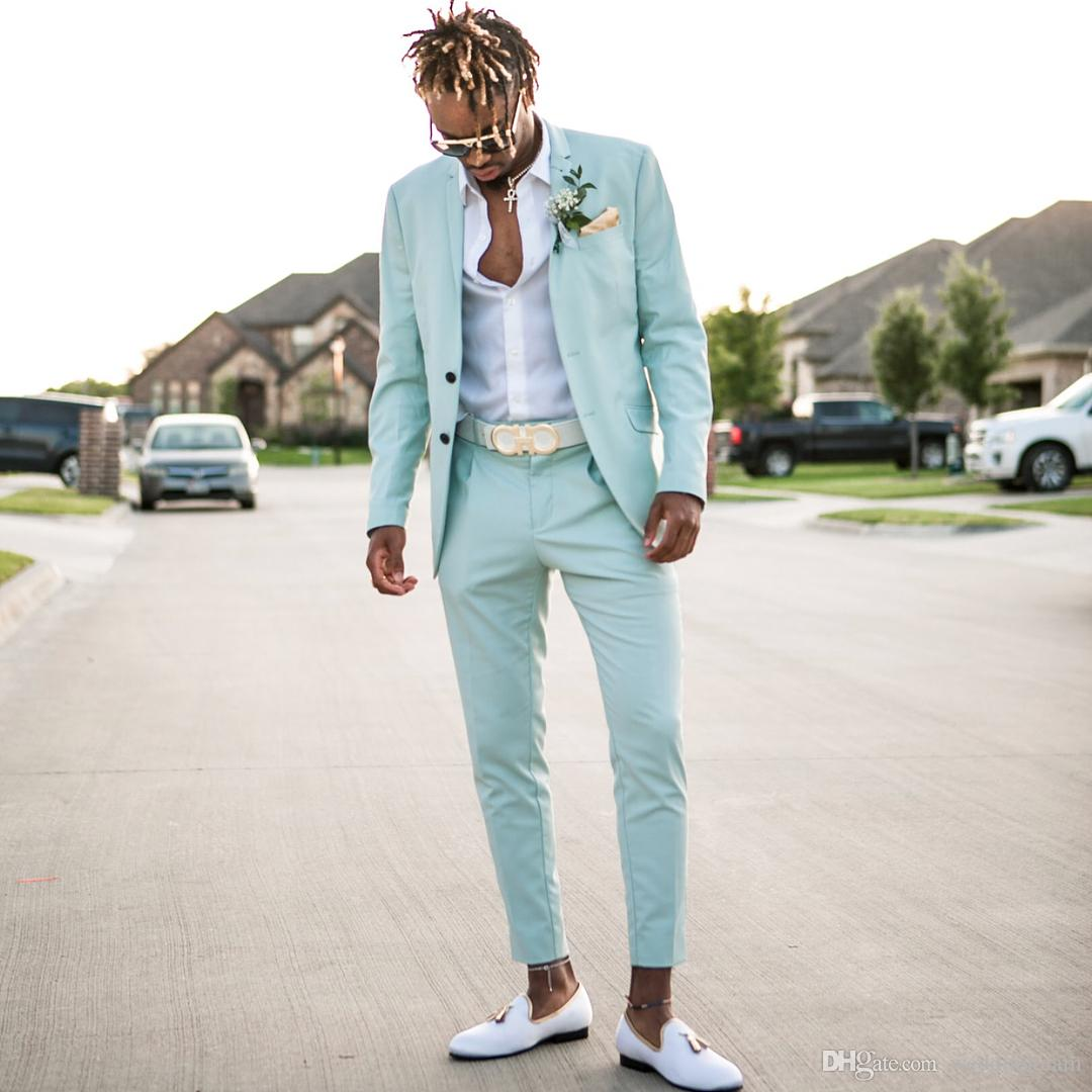 2019 Mint Green Mens Suits Slim Fit Two Pieces Beach Groomsmen Wedding Tuxedos For Men Peaked Lapel Formal Prom Suit (Jacket+Pants)