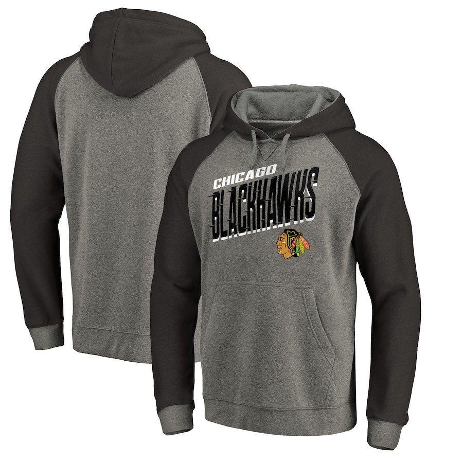 Men s 2018 Chicago Blackhawks Fanatics Branded Heathered Gray Slant ... 08961c021