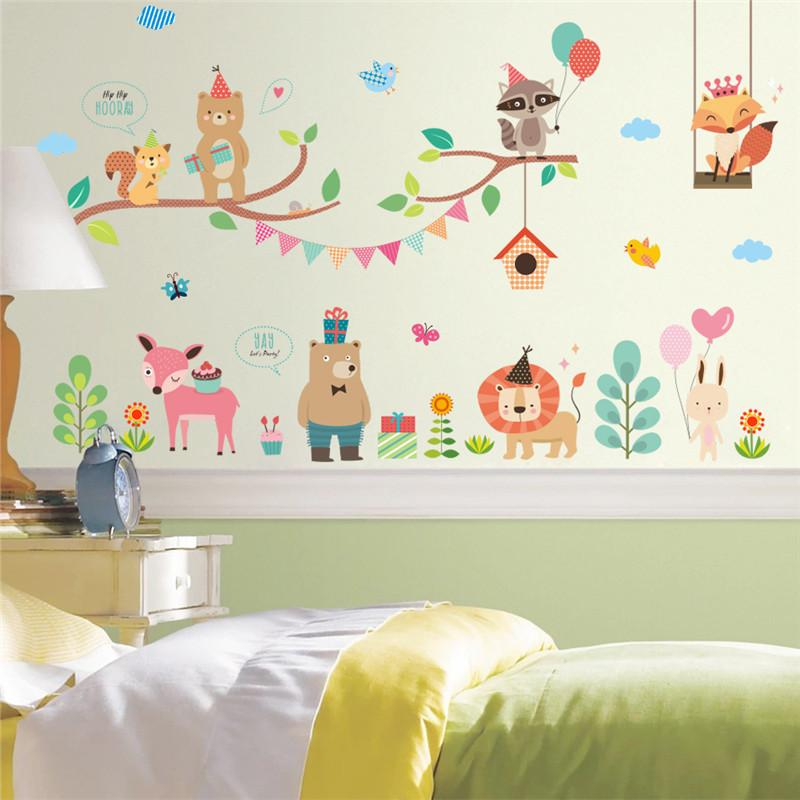 forest jungle wild animals wall sticker for kids rooms wall decal