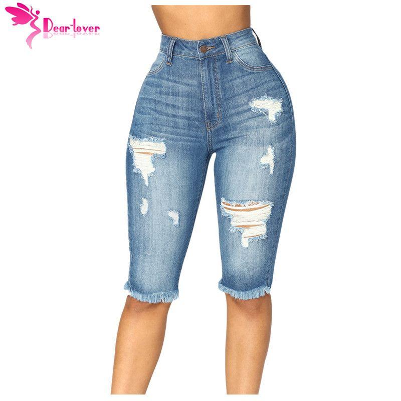 e439030db Compre Caro Amante De Cintura Alta Calça Jeans Skinny Médio Azul Wash Denim  Destruído Bermuda Na Altura Do Joelho Shorts Feminino Plus 2XL Calças  LC786021 ...
