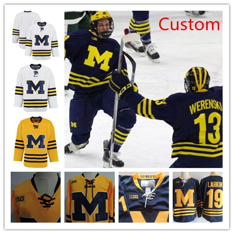 21ef46bb5 2019 Custom NCAA Michigan Wolverines College Hockey Jerseys Griffin Luce  Sam Piazza Jake Slaker Tony Calderone Joseph Cecconi Wolverines Jersey From  Xt23518 ...