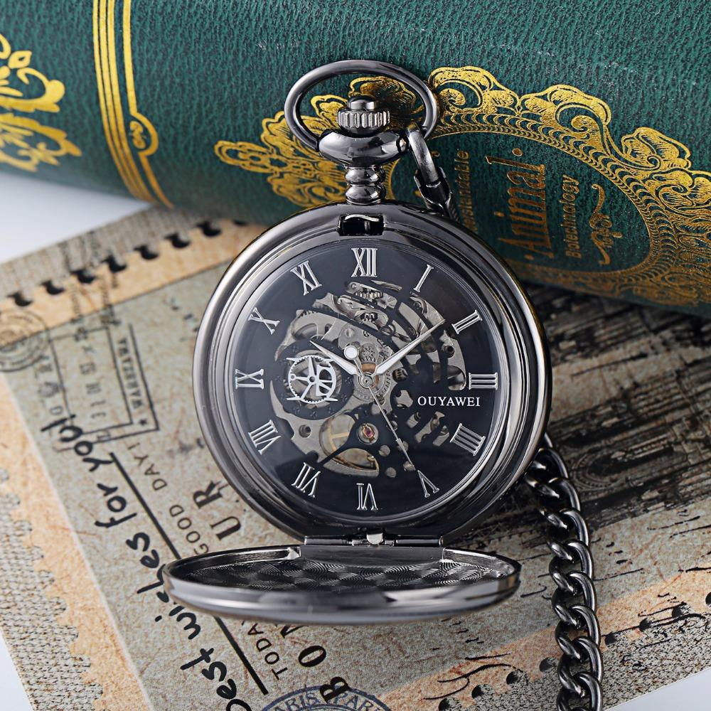 Ouyawei Vintage Skeleton Mechanical Hand Wind Pocket Watch With Chain Men Transparant Clock Necklace Pocket & Fob Watches Man