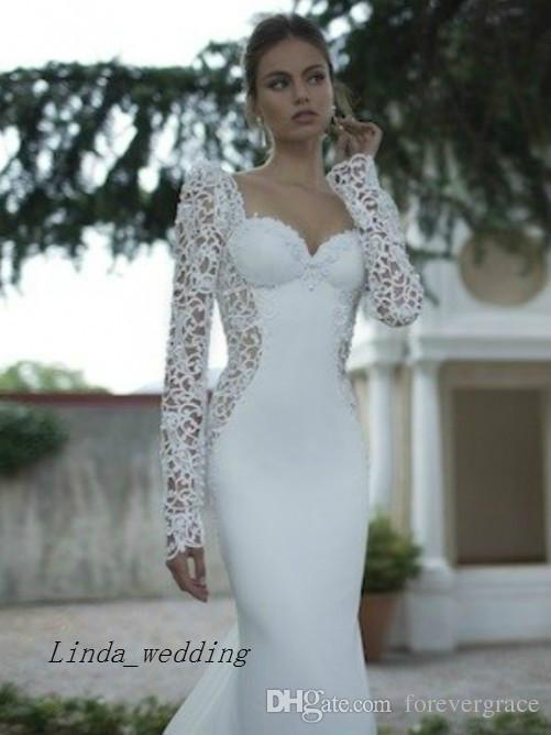Free Shipping Elegant Beautiful Trumpet Mermaid Sweetheart Long Sleeves Applique Sweep Brush Train Wedding Dresses Bridal Gowns