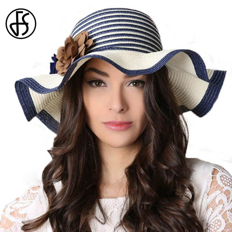 FS Spring Summer Ladies Wide Brim Straw Hat Blue White Floppy Beach Sun Hats  For Women Chapeau Paille Femme With Big Heads Trilby Hats Hat Store From ... 8166d95c6289