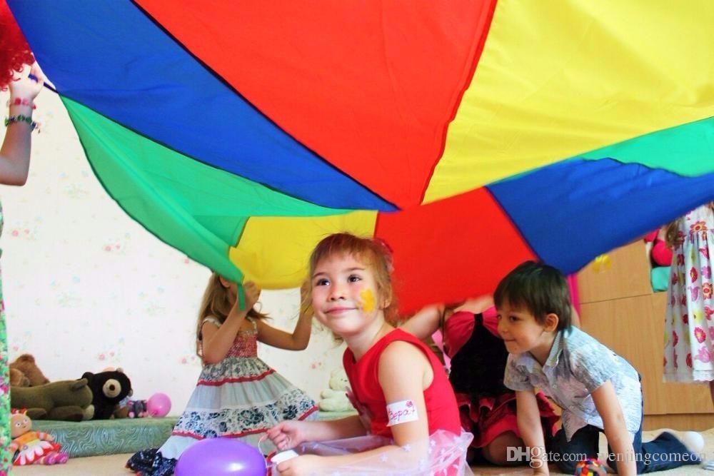 2M 78inch 어린이 키즈 스포츠 개발 야외 레인보우 우산 낙하산 장난감 점프 - 자루 Ballute 놀이 낙하산 뜨거운 승진