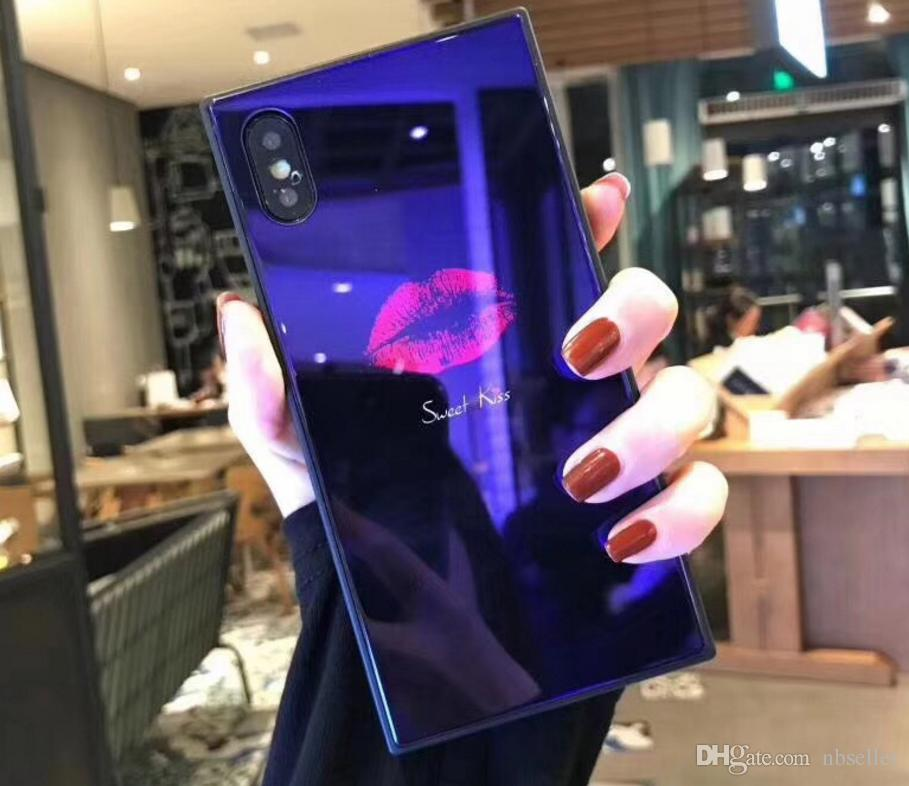 luxury glossy red lips tempered glass Case sweet kiss show box cover For Iphone X 7 7Plus 8 8Plus