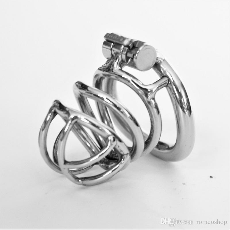 2018 Male Chastity Devices Metal Mens Small Cock Cage Stainless Steel Penis Restraints Locking Cock Ring BDSM Bondage
