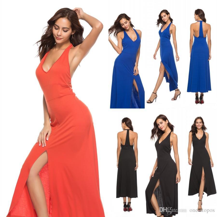 1effd17ea8c86 Women Fashions Sleeveless Bohemian Maxi Dresses Long Evening Party Gowns  Summer V-neck Side Split Sundress Casual Dresses Halter FS3477