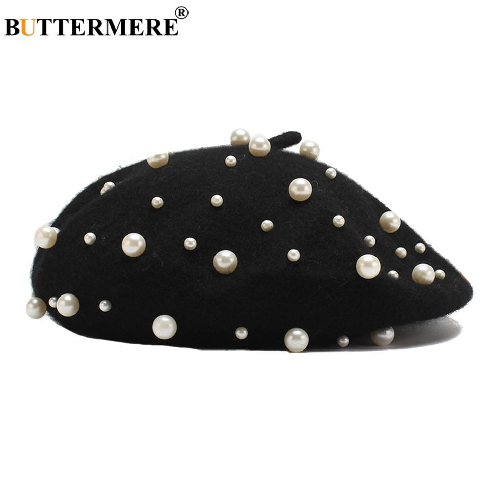 Compre BUTTERMERE Francés Boina Sombrero Mujer Lana Negra Pato Gorras  Planas Mujer Perla Elegante Pintores Sombreros Diseñador Otoño Directores Gorra  A ... c6ab40b0f013
