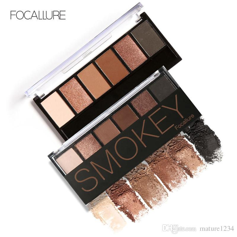 FOCALLURE Palette de fard à paupières 6 couleurs Glamorous Smokey Eye Shadow Kit de maquillage pour les couleurs chatoyantes de Focallure