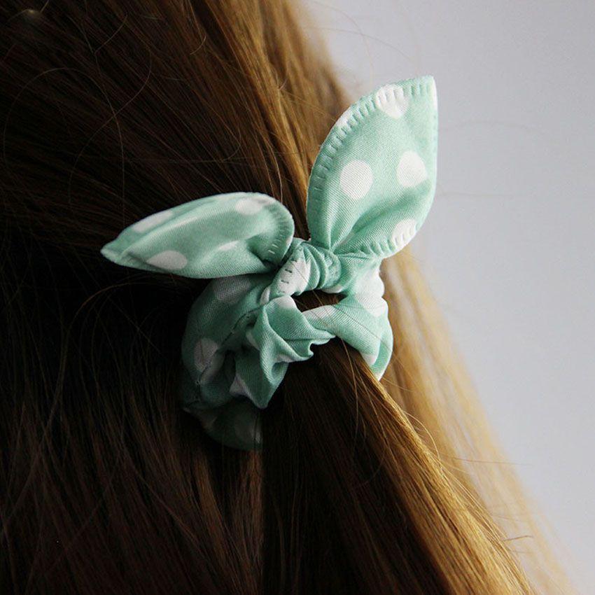 Original Head Flower Hair Accessories Headdress Korea Trinkets Rabbit Ears Fabric Polka Dot Rubber Band Hair Rope Ring