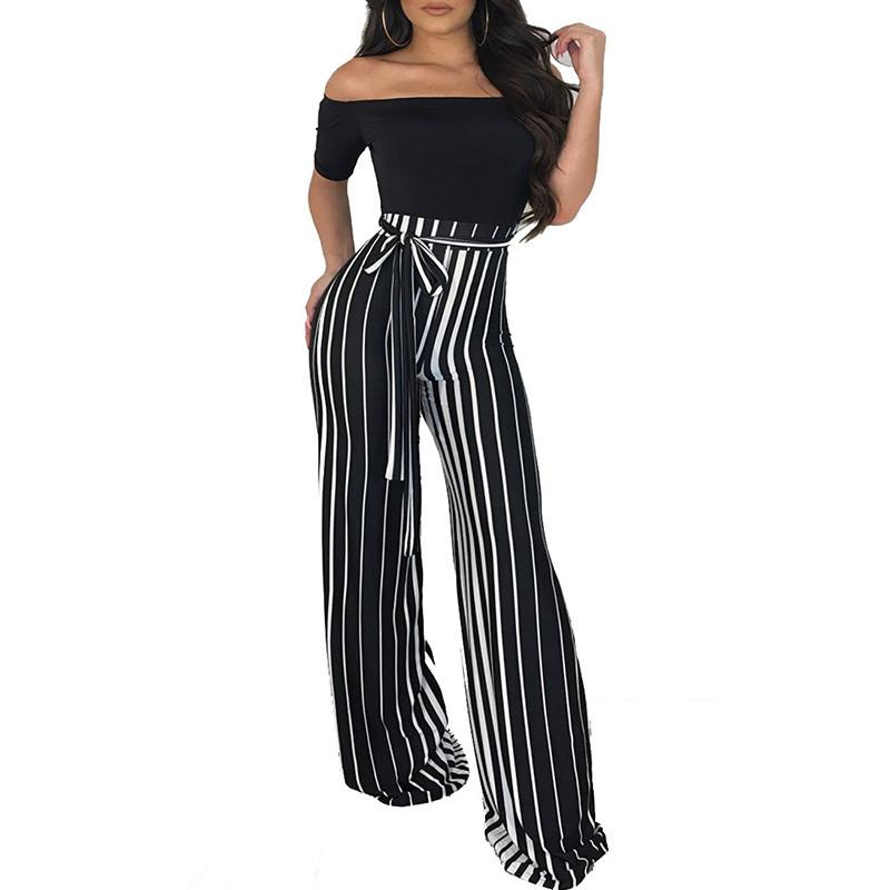 ee559d29a43c 2019 Sexy Off Shoulder Wide Leg Jumpsuit Women Slash Neck Striped High Waist  Formal Jumpsuit Long Pants Loose Overalls Romper Sashes From Worsted